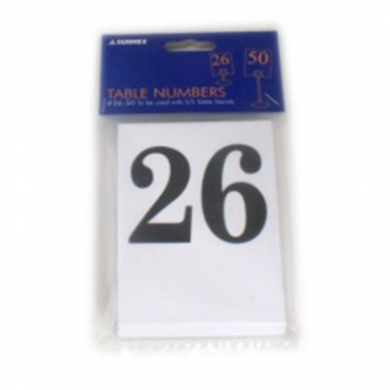 Number Cards for Table Stands - 26 to 50