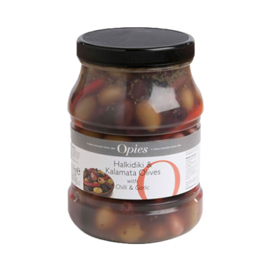 Opies - Halkidiki & Kalamata Olives with Chilli & Garlic (1.