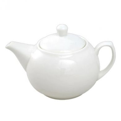 Orion Ball Shaped Teapot - 1 Litre (35oz) White Porcelain