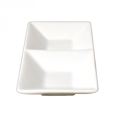 Orion Divided Dip Dish (14cm x 8cm) - White Porcelain