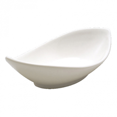 Orion Oval Twist Dish (20cm) - White Porcelain