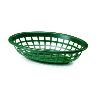 Oval Poly Basket Green 9.5 inches