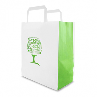 Green Tree Design Paper Carrier Bag - Medium (Pack of 25)