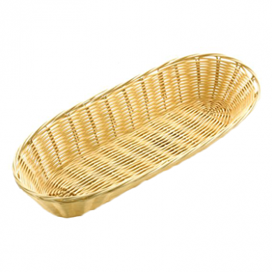Basket - Loaf Shape Poly Wicker Rattan (38cm x 15cm)