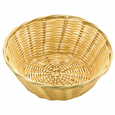 Basket - Round Poly Wicker Rattan (18cm x 7cm)
