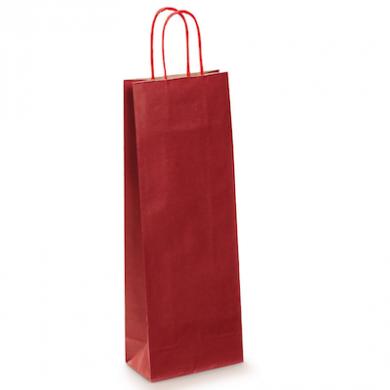 Red Kraft Paper Bottle Bag (140 x 390 x 80mm)
