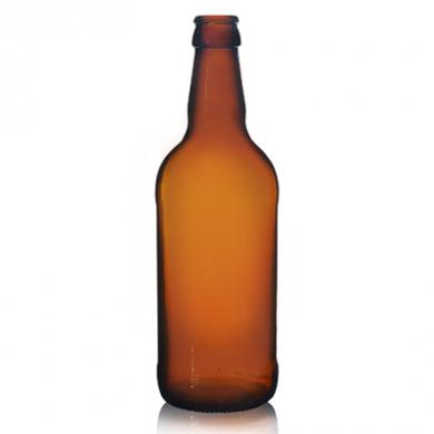 Amber Glass Beer Bottle (500ml) - Short