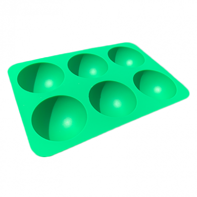 Silicone Hemisphere Ice / Cake Mould - Tray of 6 Large Green
