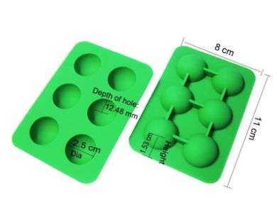 Silicone Hemisphere Ice / Cake Mould - Tray of 6 Small Green