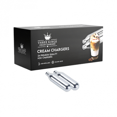 Cream Chargers - 2 Boxes Three Kings N2O - 2 x 24 (48 Cartri