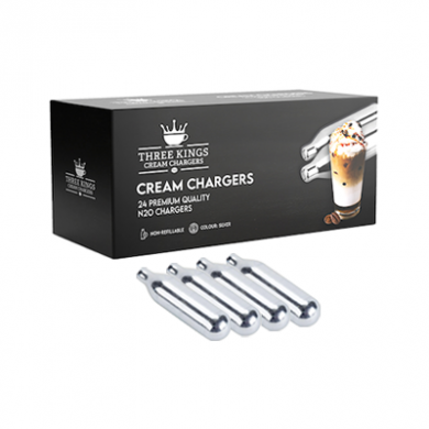 Cream Chargers - 4 Boxes Three Kings N2O - 4 x 24 (96 Cartri