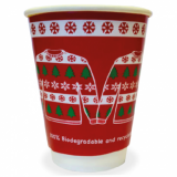 Xmas Jumper 12oz Compostable CUPS Double Wall (Pk of 25) 90mm Rim