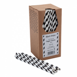 Paper Straws - Black and White Stripe 8-inch (6mm x 200mm) 250 Pack