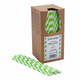 Paper Straws - Green and White Stripe 8-Inch (6mm x 200mm) 250 Pack