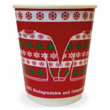 Christmas Jumper 8oz Compostable Bio CUPS - Double Wall (Pack of 25) 80mm Rim