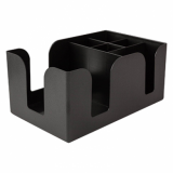 Bar Napkin Caddy - 6-Compartment (Black)