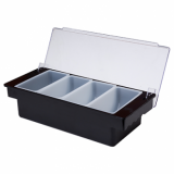 Condiment Holder (4 Compartment) - Black Plastic