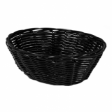 Basket - Oval Poly Wicker Rattan (18cm x 13cm) - BLACK