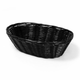 Basket - Oval Poly Wicker Rattan (23cm x 15cm) - BLACK