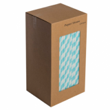 Paper Straws - Light Blue and White Stripe 8-Inch - 250 Pack