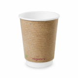 Bio Compostable Brown Double Wall Hot CUPS 12oz (89mm Rim) Pk of 25