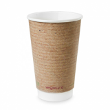 Bio Compostable Brown Double Wall Hot CUPS 16oz (89mm Rim) Pk of 20