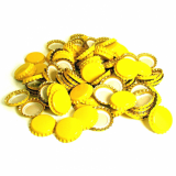 Metal Crown 26mm Bottle Caps - YELLOW (Pack of 10)