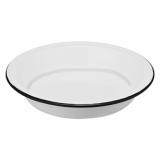 Enamel Deep Round Plate (210mm) - GREY Rim