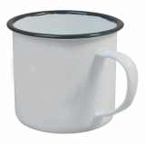 Enamel Mug - White with Grey Rim (13oz/360ml) Medium