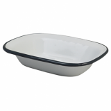 Enamel Pie Dish Oblong (180mm x 130mm) - GREY Rim