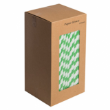 Paper Straws - Dark Green and White 8-Inch (6mm x 200mm) 250 Pack