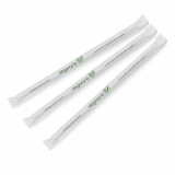 Compostable Straws - Green Stripe Ecovio 5mm (Pack of 500) Wrapped