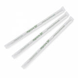 Compostable Straws - Green Stripe Ecovio 7mm (Pack of 300) Wrapped