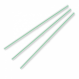 Compostable Straws - Green Stripe 8.25-Inch 7mm (Pack of 500)