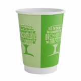 Bio Compostable Green Tree Double Wall Cup 12oz (89mm Rim) Pk of 25