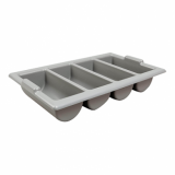 Cutlery Tray with Four Compartments (Grey Plastic)