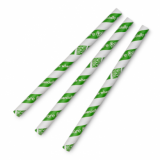 Paper Straws - Jumbo Green Stripe (10mm x 200mm) Pack of 80