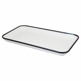 Melamine Tray - White with Black Rim (18 x 33cm)