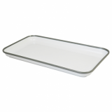 Melamine Tray - White with Grey Rim (18 x 33cm)