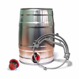 Mini Beer/Cocktail Keg with Tap SILVER - inc Handle and Bung (5 Litre)