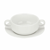 Orion Handled Soup Bowl - SAUCER only (15cm) - White Porcelain