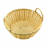 Basket - Round with Handles (Poly Wicker Rattan) 20cm x 7cm