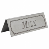 Stainless Steel Tent Style Sign - MILK