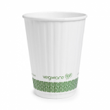 Bio Compostable White Embossed Hot CUPS 12oz (89mm Rim) Pack of 25