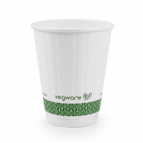 Bio Compostable White Embossed Hot CUPS 8oz (79mm Rim) Pack of 25
