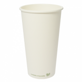 Bio Compostable White Single Wall 20oz CUPS - 89mm Rim (Pack of 50)