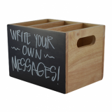 Wooden Caddy With Chalkboard (3 Compartments)