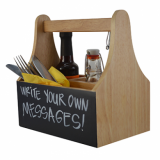 Wooden Caddy With Chalkboard (4 Compartments)