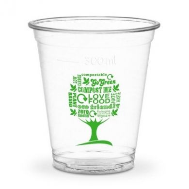 Vegware Green Tree WIDE Clear Cups - 12oz/300ml CE (96mm) Pk