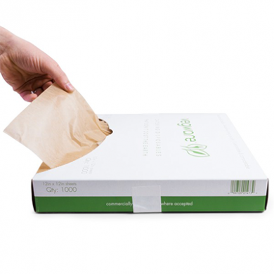 Bio Compostable Waxed Deli Sheets - 12 x 12 inch (Pack of 10